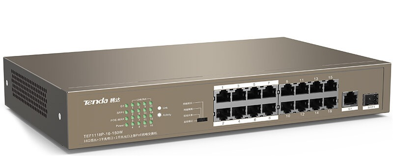Switch TENDA TEF1118P 16-Port PoE 10/100Mbps + 1 Gigabit/SFP Slots