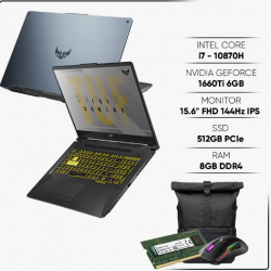 Laptop ASUS Gaming FX506LU-HN138T(Core i7-10870H/8G/512GB PCIE/VGA 6GB GTX 1660TI/15.6 IPS 144Hz/WIN10/XÁM)